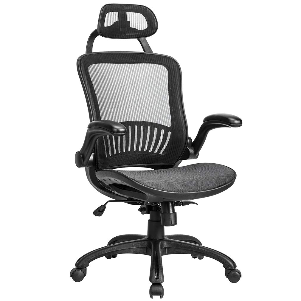 Office Chair Desk Chair Computer Chair Ergonomic Rolling Swivel Mesh Chair Lumbar Support Headrest Flip-up Arms High Back Adjustable Chair for Women& Men,Black by BestOffice
