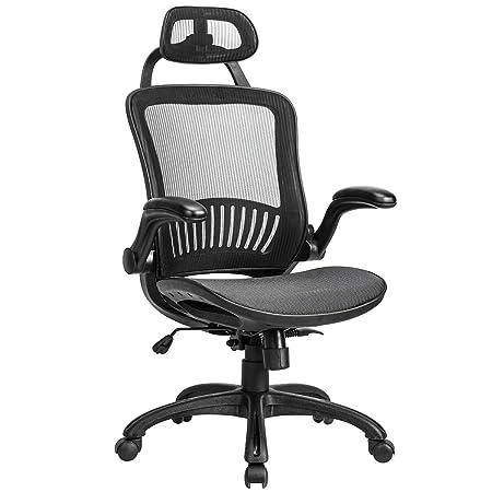 Office Chair Desk Chair Computer Chair Ergonomic Rolling Swivel Mesh Chair Lumbar Support Headrest Flip-up Arms High Back Adjustable Chair for Women Men,Black