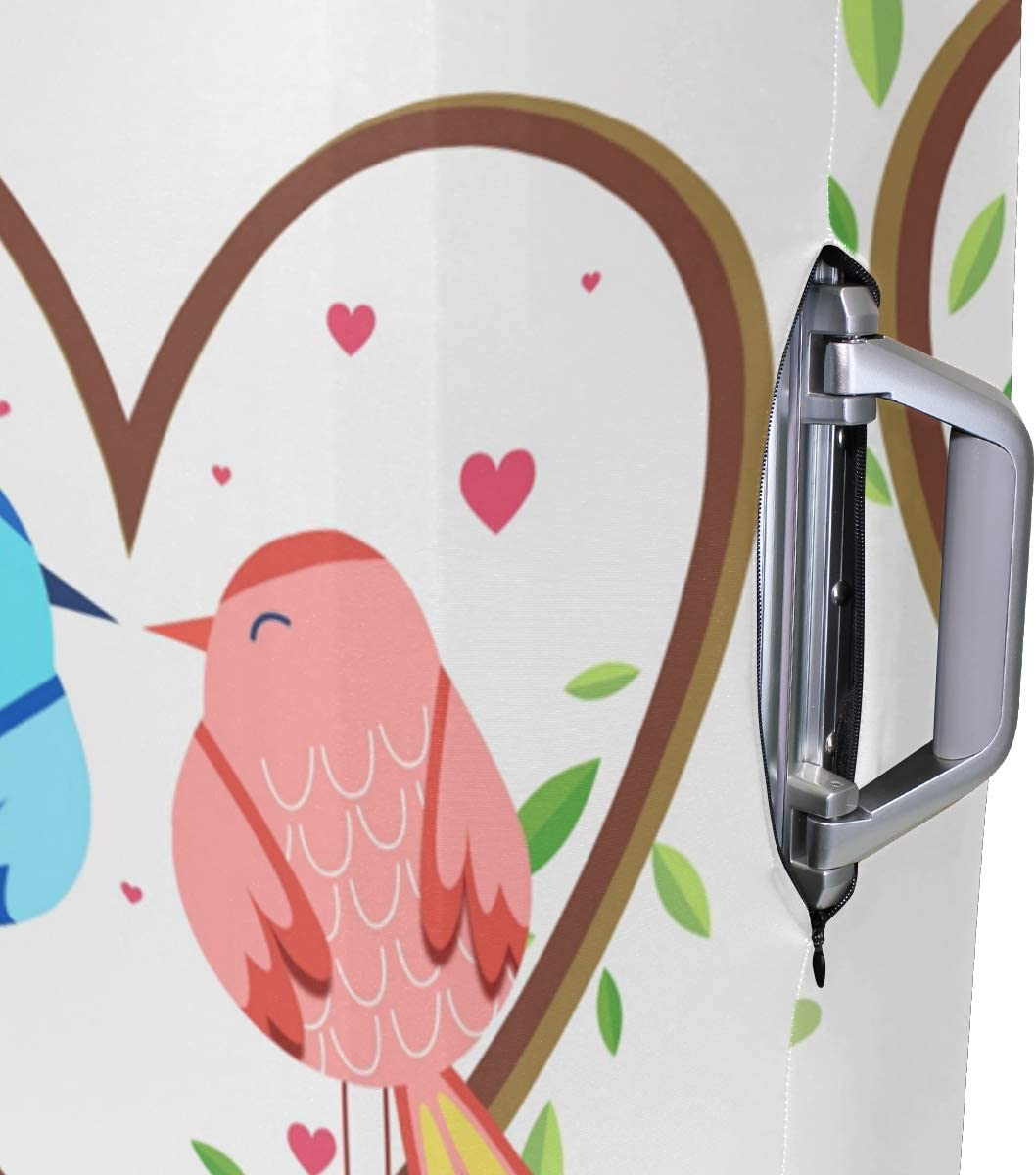 FOLPPLY Happy Valentines Day Birds Love Luggage Cover Baggage Suitcase Travel Protector Fit for 18-32 Inch
