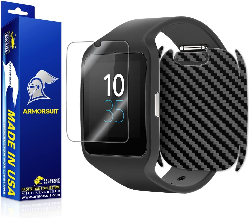 ArmorSuit Black Carbon Fiber Skin Back Protector Film + HD Clear Screen Protector for Sony SmartWatch 3 - HD Clear