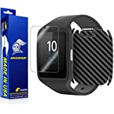 ArmorSuit MilitaryShield - Sony SmartWatch 3 Screen Protector + Black Carbon Fiber Full Body Skin Protector / Front Anti-Bubble and Extream Clarity HD Shield with Lifetime Replacements