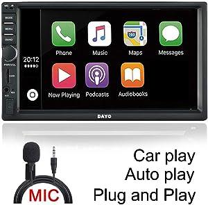 DAYO Android Auto Carplay AM&FM Radio Stereo Double Din Car Stereo Bluetooth Radio SA102