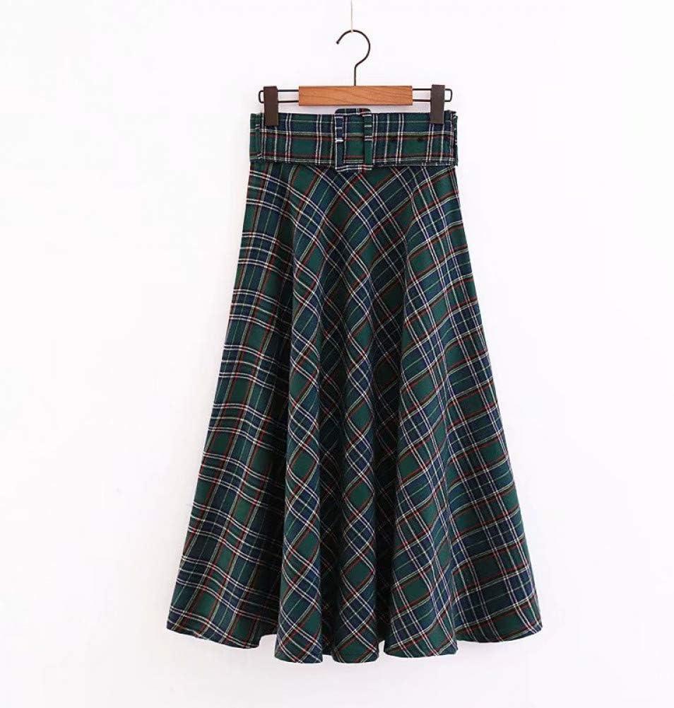 FSDFASS Faldas Otoño Fajas Vintage Plaid Midi Falda para Mujer ...