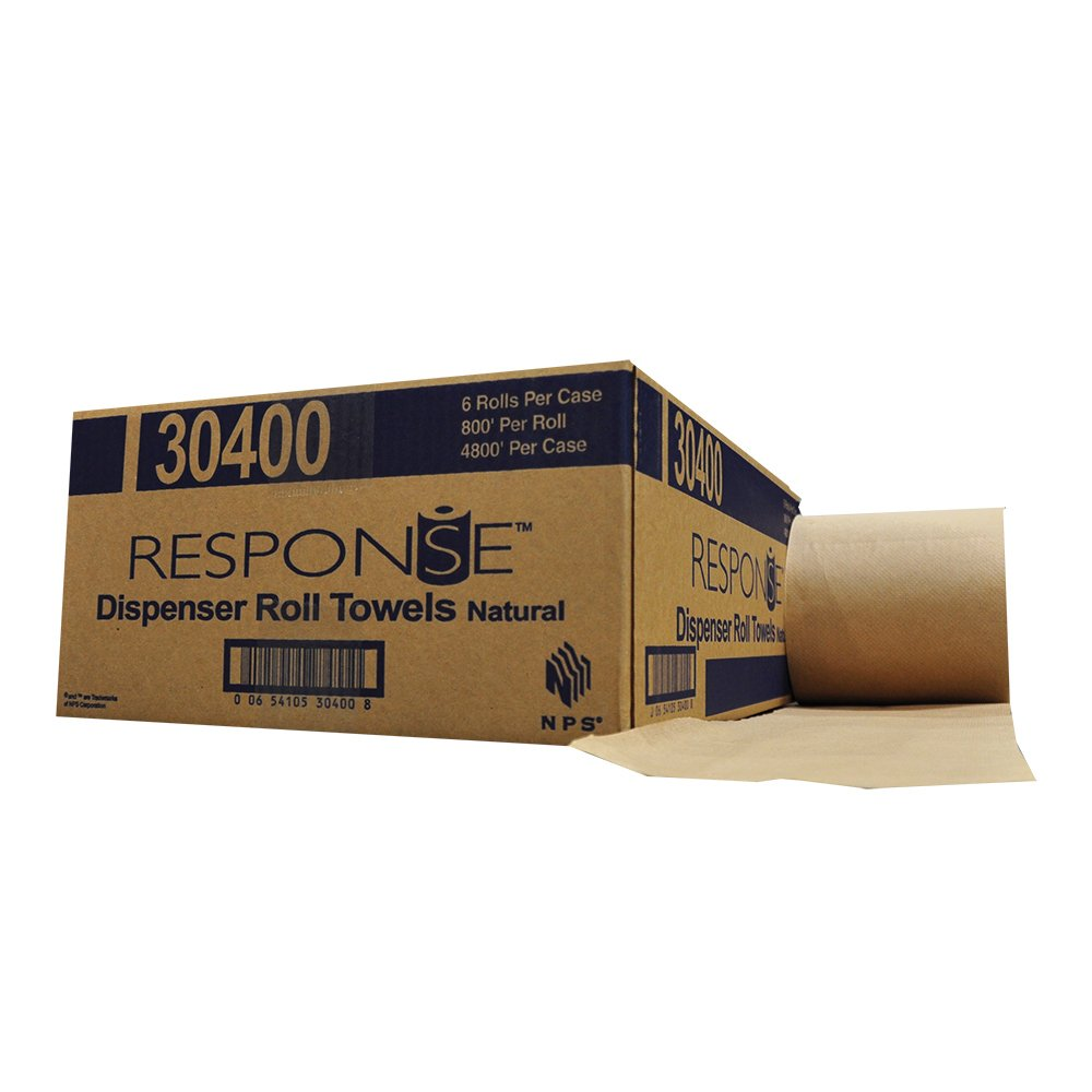 Response 30400 22# Dispenser Hardwound Roll Towel, 800' Length x 8'' Width, Natural (Case of 6)