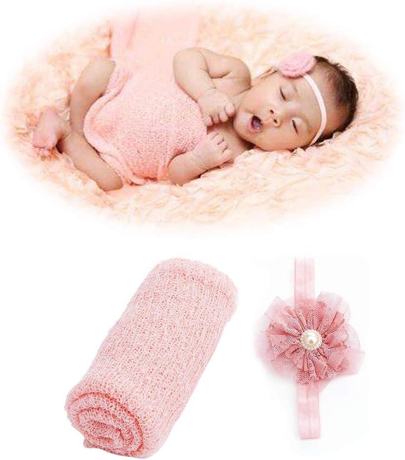 ideal para reci/én nacidos ChanYYw el/ástica Manta de encaje para beb/é suave y envolvente para decoraci/ón de fotos con diadema de flores rosa rosa