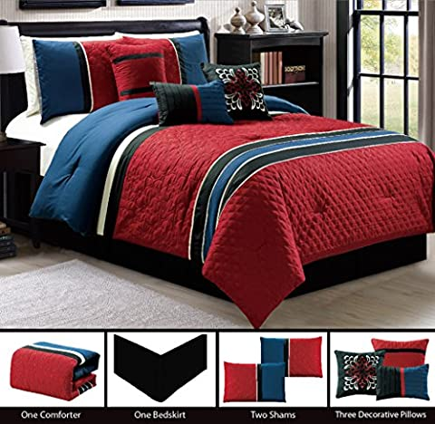 Modern 7 Piece (California) CAL KING Bedding Burgundy Red / Navy Blue / Black Qulted & Embroidered Comforter Set with accent pillows
