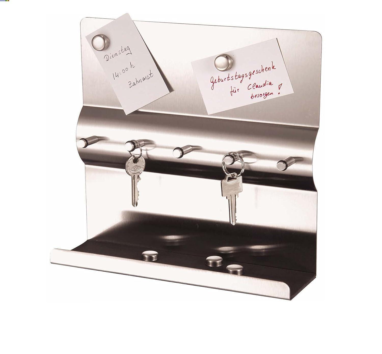 Mack Acciaio inox Portachiavi da parete con barra magnetica da parete + magnete chiavi con Lavagnetta magnetica Chiave e Memoboar portachiavi da parete 24x 24x 7cm