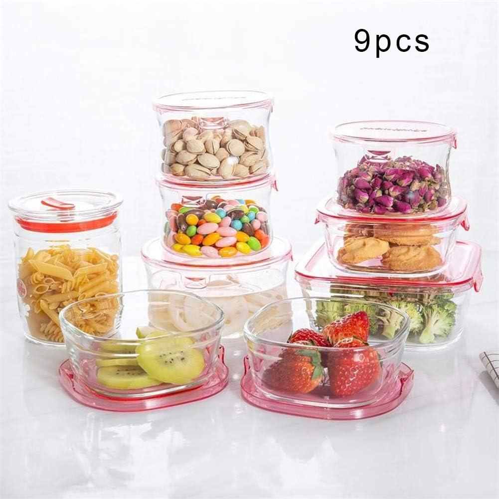 耐熱ガラス 保存容器 ふた食品保存容器スタッカブルガラスストレージコンテナで9点セットガラス容器食事準備プレミア食品コンテナコンテナ