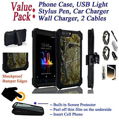 Value Pack Cables + for 6'' ZTE BLADE Z MAX bladeZmax case Phone Case 360° Cover Screen Protector Clip Crystal Holster Kick Stand Armor Shock Bumper (Camo) by 6goodeals