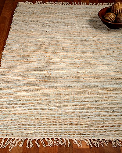NaturalAreaRugs Brilliance Collection Natural Leather/Jute Fiber Rug, Handmade, 50% Leather, 40% Jute, 10% Cotton, Anti-Static, Durable, Stain Resistant, Eco-Friendly (8 Feet x 10 Feet) White Color
