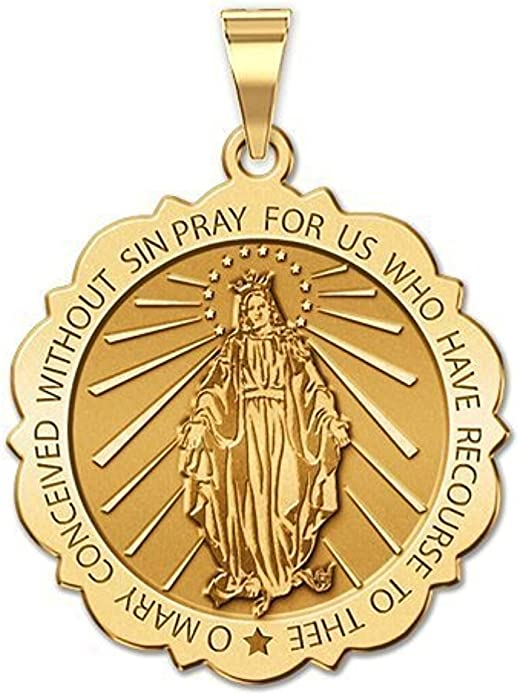 PicturesOnGold.com Holy Communion Scalloped Round Religious Medal Color Available in 3 Sizes