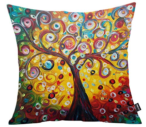 JINBEILE 18x18 Inch Oil Painting Tree Cotton Linen Throw Pillow Cover Decorative Cushion Case Home Pillowcase