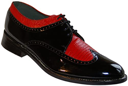 28f91c547196e Stacy Baldwin Black and Red Wingtip Spectator Shoes All Leather Vintage  Style Oxfords