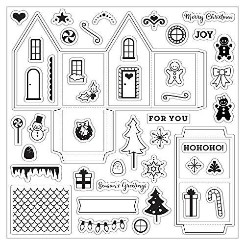 Fiskars Crafts 126470-1001 Tiny Little Gingerbread House 8x8 Clear Stamp,