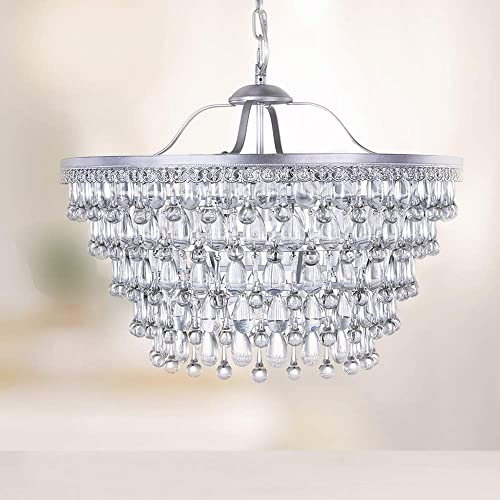 Wellmet 20 Inch Crystal Chandeliers, 6 Lights 5 Tiers Crystal Light, Adjustable Ceiling Pendant Lights, Modern Hanging Chandelier Lighting Fixture for Dining Room, Bedroom, Hallway, Bar, Kitchen, Bath