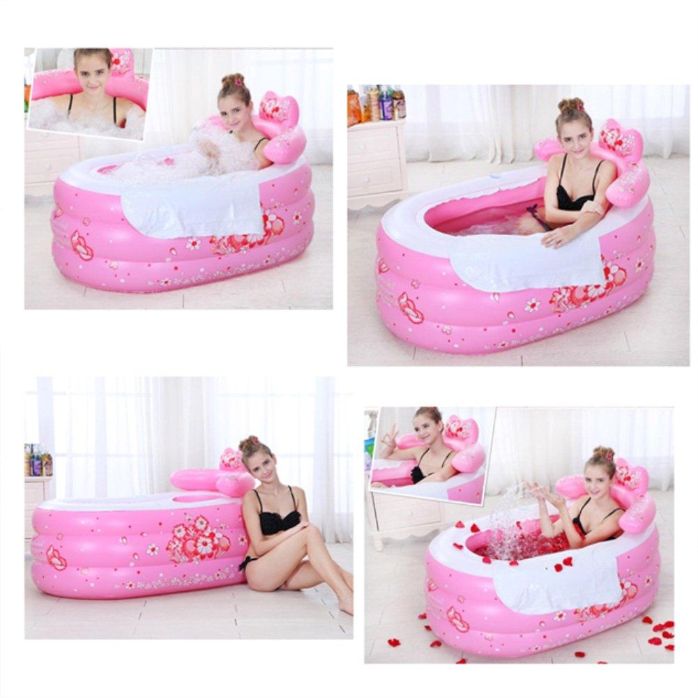 cm bañera Plegable para Adultos Color : D 002 LQQGXL,Baño Bañera Inflable 135 * 75 * 70 Cubo de plástico Grueso Bañera Inflable