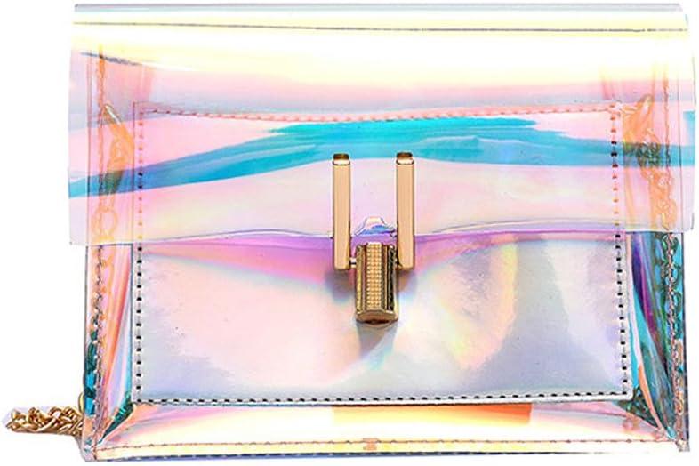 YIMOLL Sacs /à Main Femme,Sac a bandouliere Sac a Main holographique Brillant avec des Chaines Crossbody Transparente Sacs Messenger Sac /à Bandouli/èRe De Sacs Port/éS /éPaule Femme Plage
