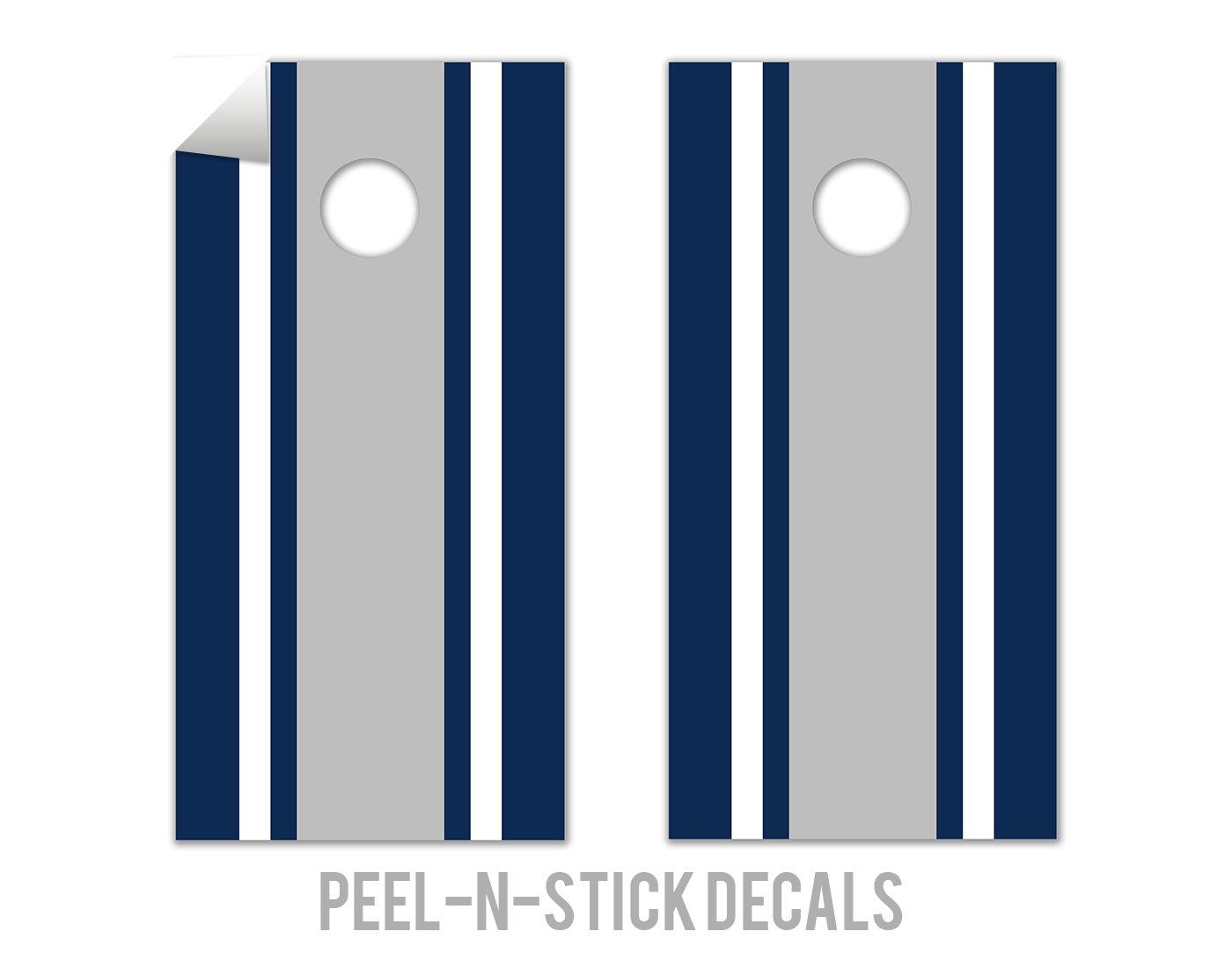 Classic Stripe - Blue, White, Grey - Cornhole Crew - ACA Regulation Size Cornhole Board Decals