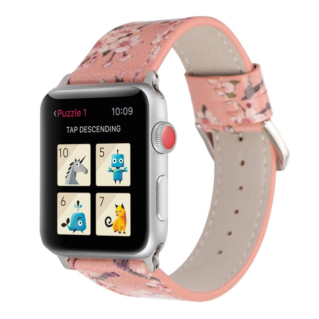 YJYdada Fashion Plum Blossom Leather Strap Replacement Watch Band for Apple Watch 42mm (Pink)