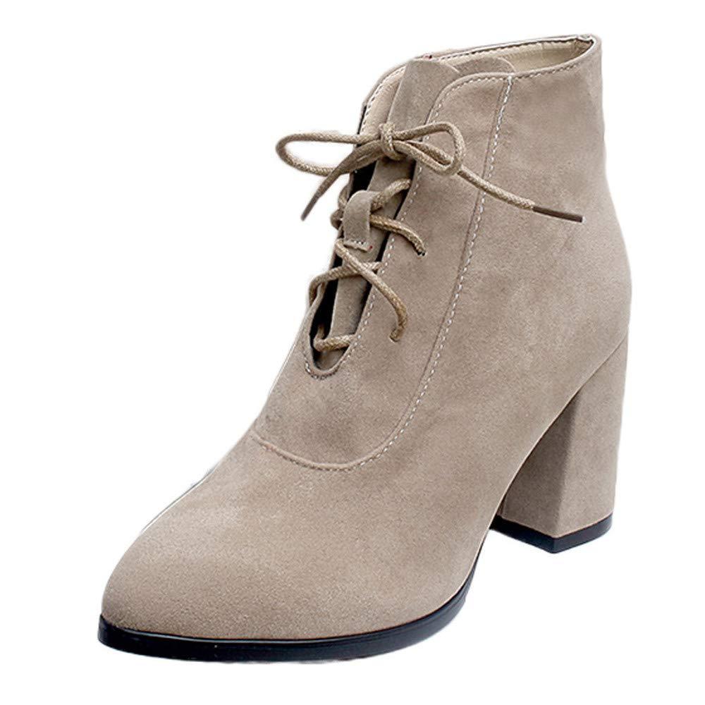 ❤ Botas Cortas Mujer de Invierno tacón Alto, Moda Mujer Punta Estrecha Zapatos de tacón Alto Color sólido Gamuza Botas con Cordones Bota Absolute: ...