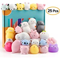 KUUQA 25Pcs Squishy Toys Kawaii Squishies Animals Panda Cat Paw Cute Mini Soft Squeeze Stress Reliever Balls Toys Birthday Party Bag Gifts Favours for Kids Adult