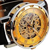 Voberry® Classic Men's Leather Dial Skeleton Mechanical Sport Army Wrist Watch (Gold) (1)