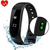 Fitness Tracker, VPRAWLS Smart Watch with Heart Rate Monitor Calorie Counter Pedometer, Waterproof Touch Screen Wristband Sport Activity Tracker Pedometer for IOS Android Phone