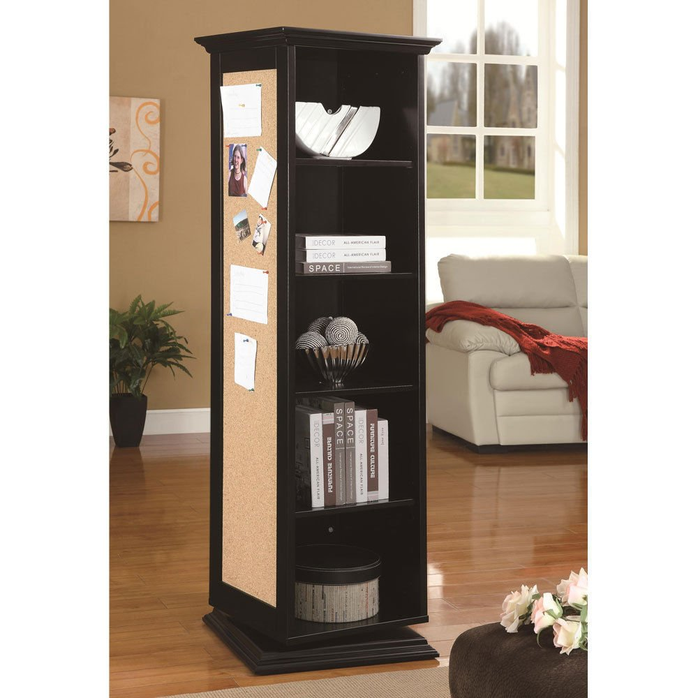 1PerfectChoice Accent Black Swivel Tall Storage Cabinet with Cork Board Mirror Coat Rack Shelves