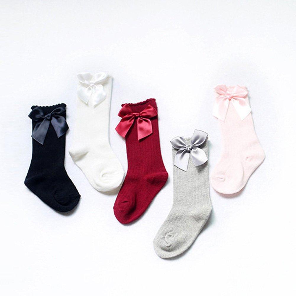 XPX Garment Lot de 5 Coton Arc Chaussettes Hautes Genou B/éb/é Fille 0-4 ans