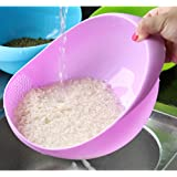 Inovera Kitchen Fruit Vegetable Rice Washing Strainer Bowl Storage Basket, Assorted Colour