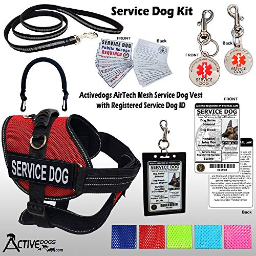 Activedogs Service Dog Kit - L Red Mesh Service Dog Vest Harness + Free Registered Service Dog ID + Clip-on Bridge Handle + ADA/Federal Law Cards + Travel Tag