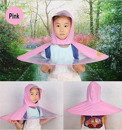 Creative Impermeable Paraguas Sombrero Gorro Gorra Exterior Niño Lluvia Abrigo Cubierta Transparente Paraguas,Pink