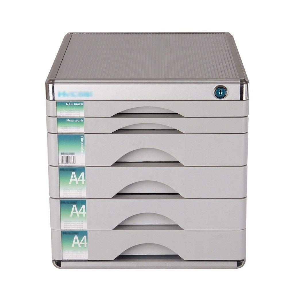 Bxwjg Flat File Cabinet, Lockable with 6 Drawers Hold Documents/Stationery,12×14.4×12.2 Inches Aluminum Alloy Silver by Bxwjg