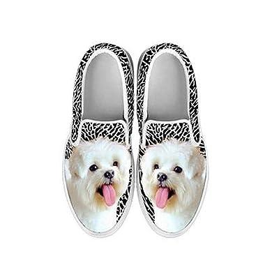 Maltese Dog Print Slip Ons For Women