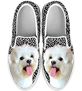 Maltese Dog Print Slip Ons For Women