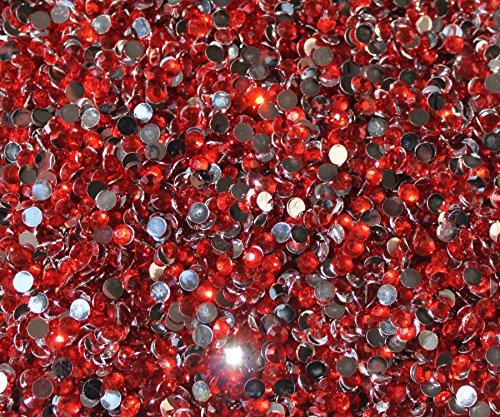 Blinggasm 1000 Crystal Flat Back Resin Rhinestones Gems (3mm-ss12, Light Red)