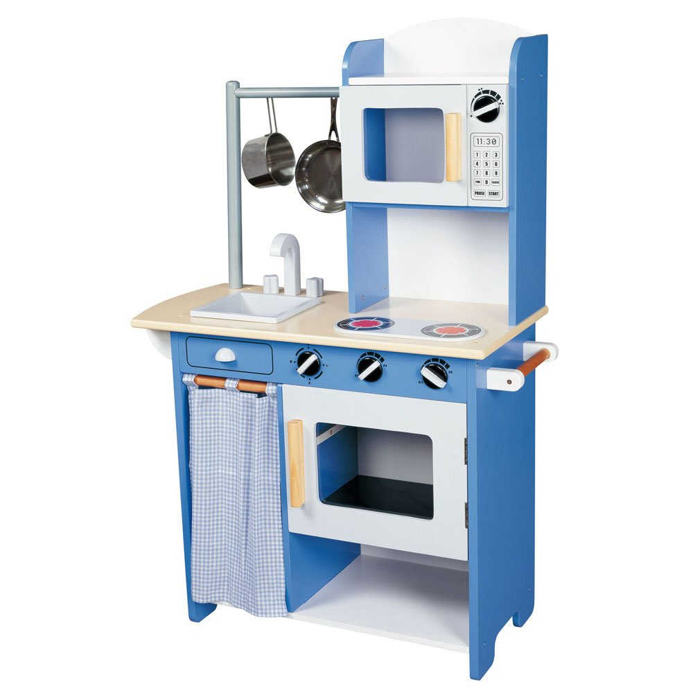Maxim Kids Role Play Wooden Toy kitchen Centre Blue: Amazon.co.uk ...