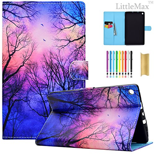 Flip Cover Case Kindle - Kindle Fire HD 8 Case,LittleMax PU Leather Case Flip Stand Protective Auto Wake/Sleep Cover for Amazon Kindle Fire HD 8 7th Gen 2017 Release & 6th Gen 2016 Release with Free Stylus-01 Night Forest