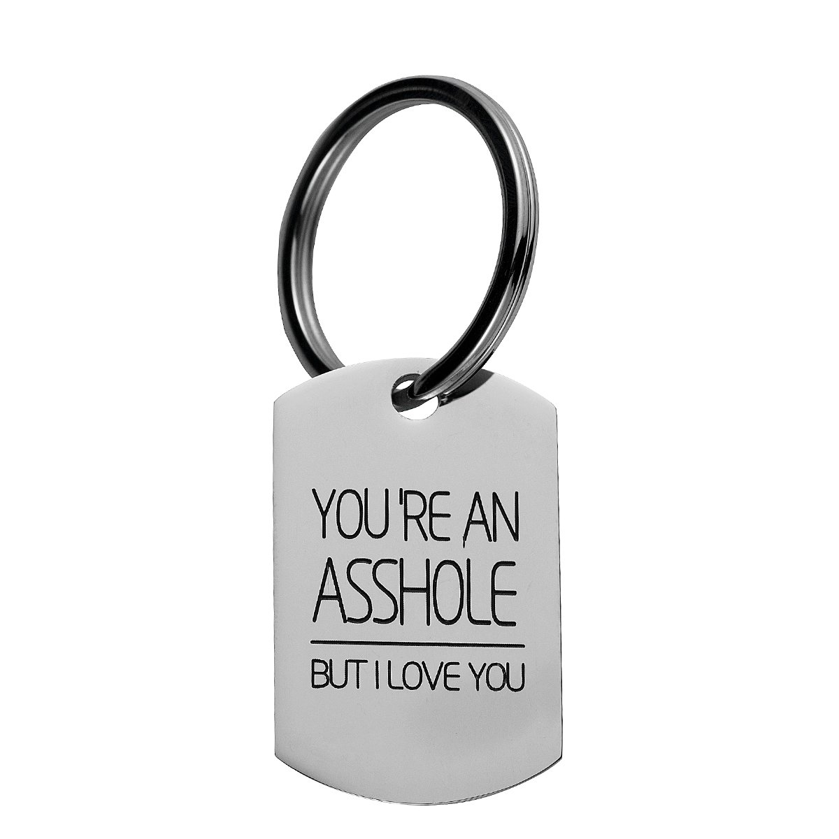 omodofo Valentine's Day Funny Keychain Dog Tag Charm Keyring Couples Love Lettering (You're An Asshole But I Love You)