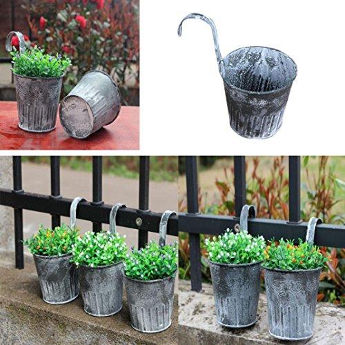 (Plant Pot, Yezijin 1x Flower Pot Garden Hanging Balcony Plant Home Decor Metal Iron Potted Planter)