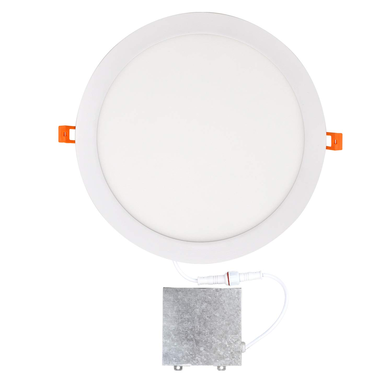 OSTWIN 12 inch 24W (120 Watt Repl.) IC Rated LED Recessed Low Profile Slim Round Panel Light with Junction Box, Dimmable, 4000K Bright Light 1800 Lm. No Can Needed ETL & Energy Star Listed