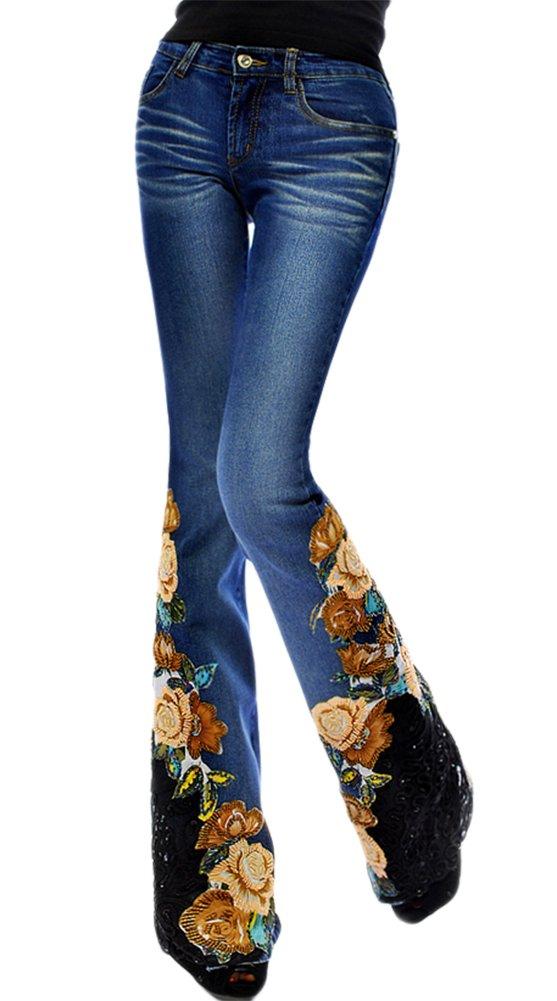 AvaCostume National Style Luxury Lace Embroidery Beads Flare Denim, Blue 4