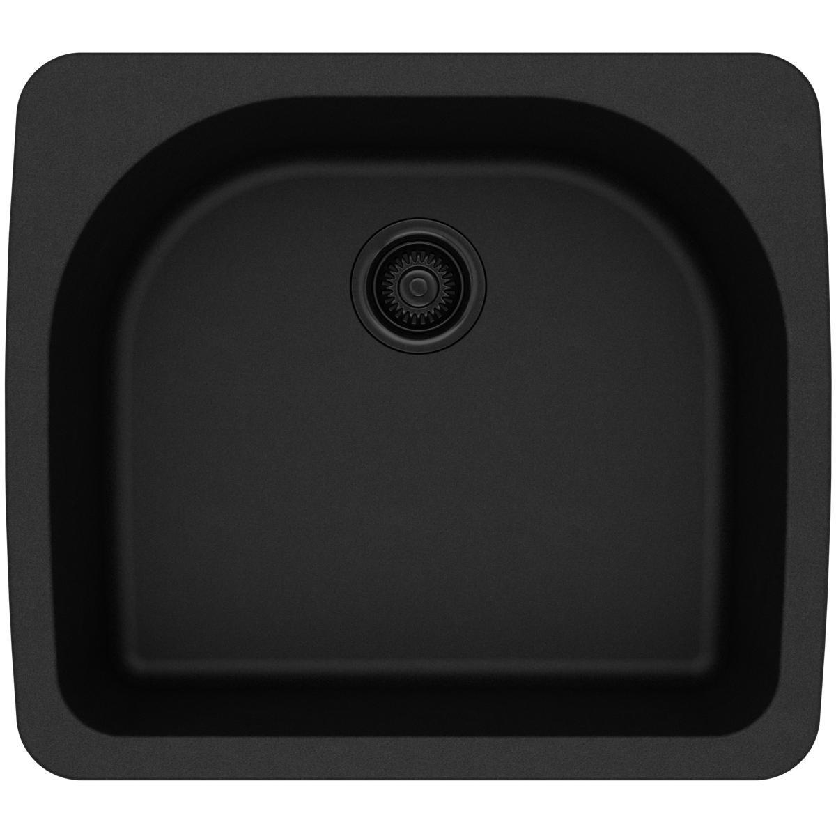 Elkay Quartz Classic ELGS2522BK0 Black Single Bowl Top Mount Sink