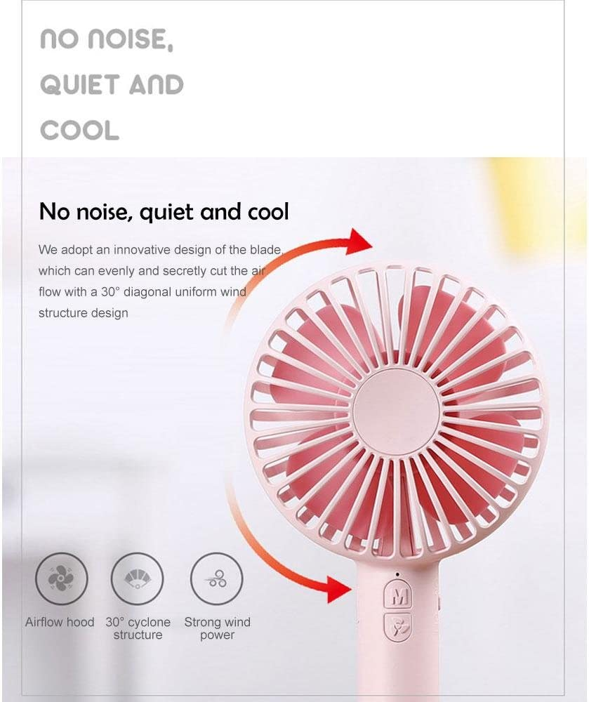 White Kobwa Mini USB Fan Lovely Macaron Shape Portable Handheld Quiet Fan 3 Speed Modes Adjustable Mini Table Desk Laptop USB Fan with Magnetic Makeup Mirror Base for Home Office School Traveling