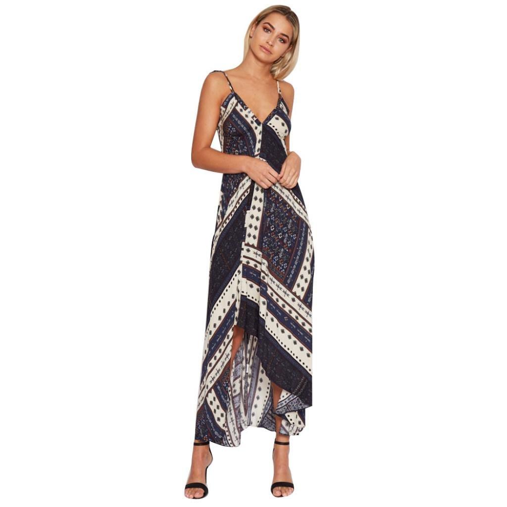 Women Girls Fashion Dress GoodLock Lady Female Cotton Summer Boho Long Maxi Evening Party Beach Dress Floral (Blue, Asian Size:XL)