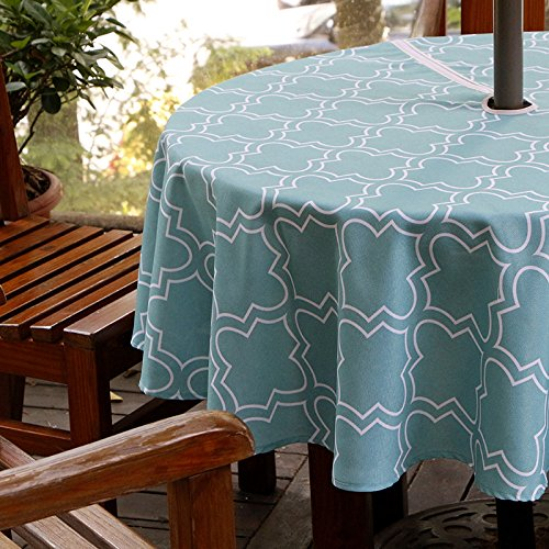 eforgift European Turquoise Quatrefoil Print Umbrella Table Cover with Zipper for Thanksgiving Day, Stain Free & Anti-Water Soft Polyester Zippered Tablecloth Round 60-inch (diameter) for Restaurant - European Tablecloth