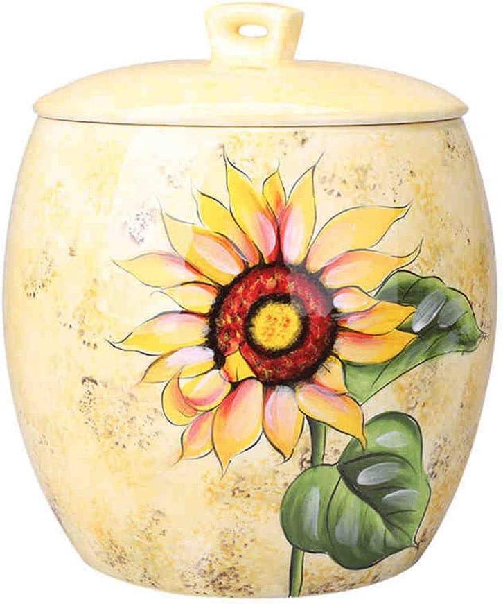 セラミックライスバケツキッチンストレージジャーセラミックジャー穀物コンテナキャンディ缶 (Color : Yellow, Size : 31x31x36cm)