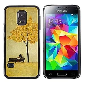 iKiki Tech / Estuche rígido - Leaves Golden Brown Love Couple - Samsung Galaxy S5 Mini, SM-G800, NOT S5 REGULAR!