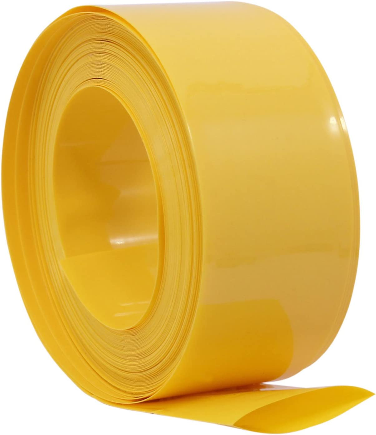 29.5MM10M Yellow AuSL Flat PVC Heat Shrink Tubing 29.5MM Width Battery Wrap for 1 x 18650 Battery