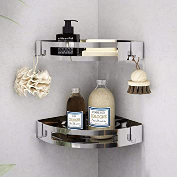 Winmien 2 Pack Bathroom Corner Shelf Sus 304 Stainless Steel Wall Mounted Shower Corner Caddy With Adhesive No Drilling No Rust Storage Organizer For Dorm Toilet And Kitchen Silver Home Improvement